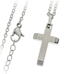 Croix Acier Inoxydable 25Mm + Chaine
