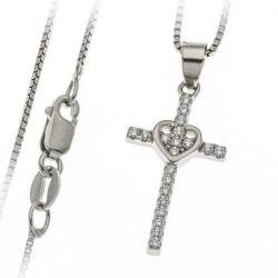 Croix Argent Avec Zircons Et Coeur 19Mm + Chaine