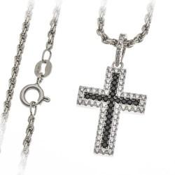 Croix Argent Avec Zircon Noirs 22Mm + Chaine