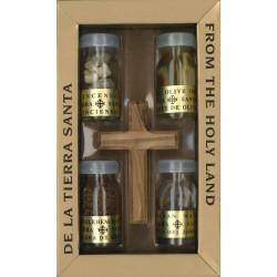 Kruis - Olijvenhout - Set 4 Flesjes H. Olie