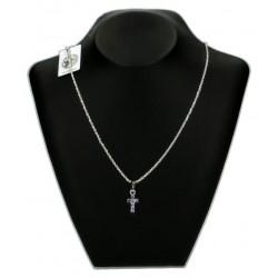 Pendentif Croix Saphire + Chaine 45Cm