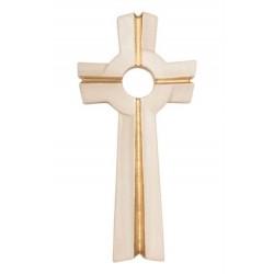 Houtsnijwerk    Kruisbeeld   16 Cm   Symbolen Gouden Rand