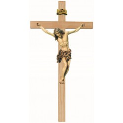 Bois Sculpté Croix + Christ 20 Cm 3 Tons Bois