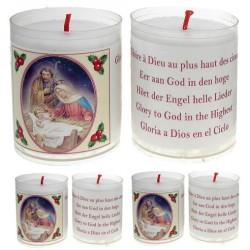 Set met 4 Kaarsen Kerstmis - Tekst 5 Talen