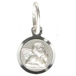 Médaille Ange - 8 mm - Métal Rhodié